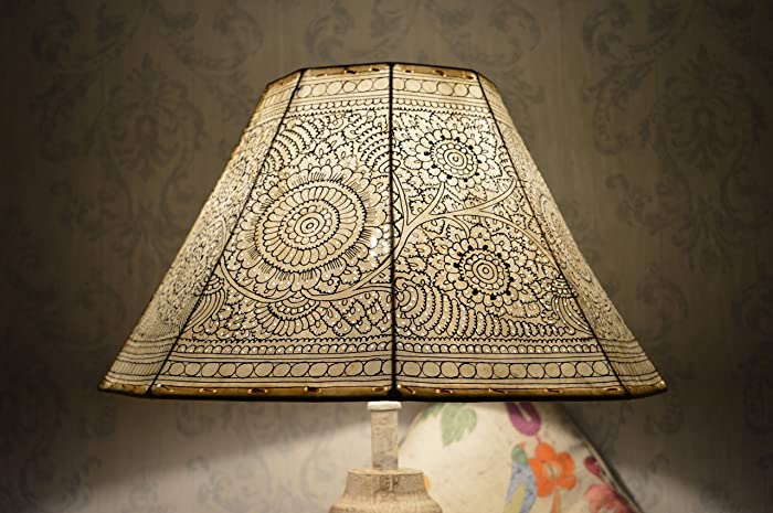 Amazon large floor lamp shade in vintage style plain hand large floor lamp shade in vintage style plain hand painted leather lampshade 8 faced aloadofball Choice Image
