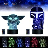 2 Bases 5 Patterns Star Wars Gifts 3D Illusion Lamp - Star Wars Toys LED Night Light for Kids Room Decor,16 Color…