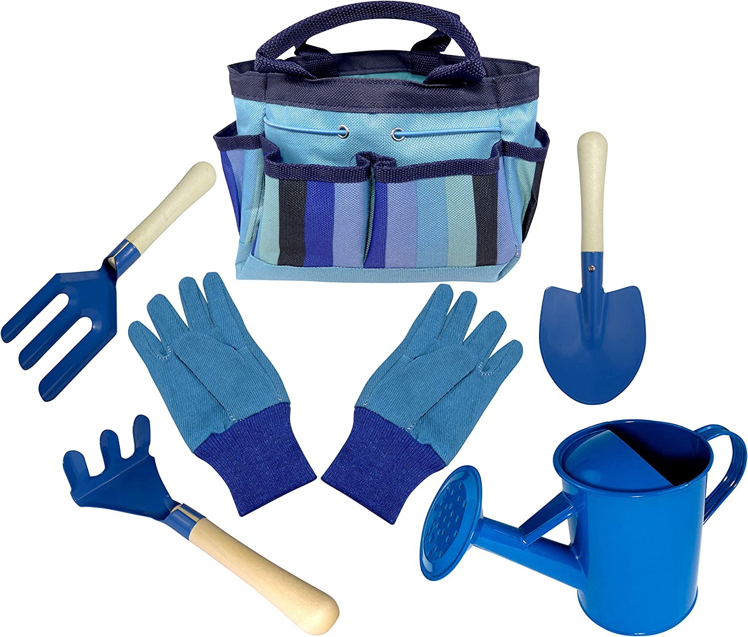 Kids Gardening Tool Set - Real Metal Child Sized Hand Tools with Wooden Handles & Safety Edges; Shovel, Rake & Pitch Fork - Plus Watering Can, Garden Gloves & Durable Canvas Carrying Bag. Blue