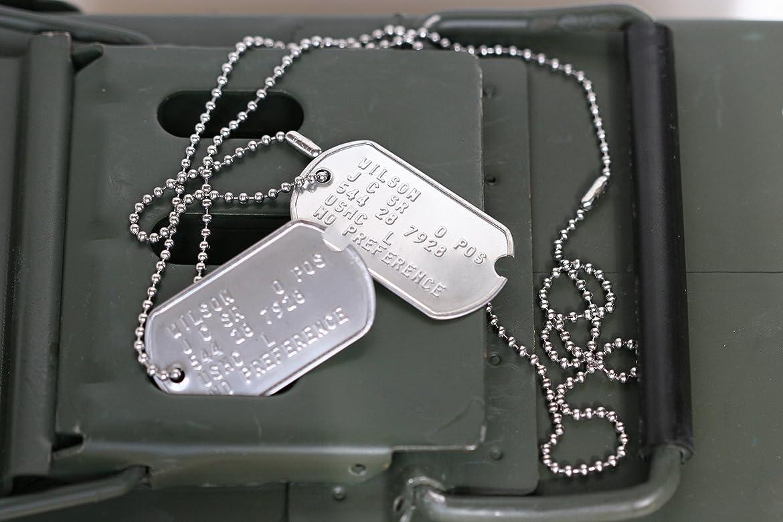 Graphotype™ Juego de Placa de Identificación, Réplica Estilo Militar Estadounidense en la WW2, de Acero Inoxidable, pre 1965 con Cadenas: Amazon.es: Joyería