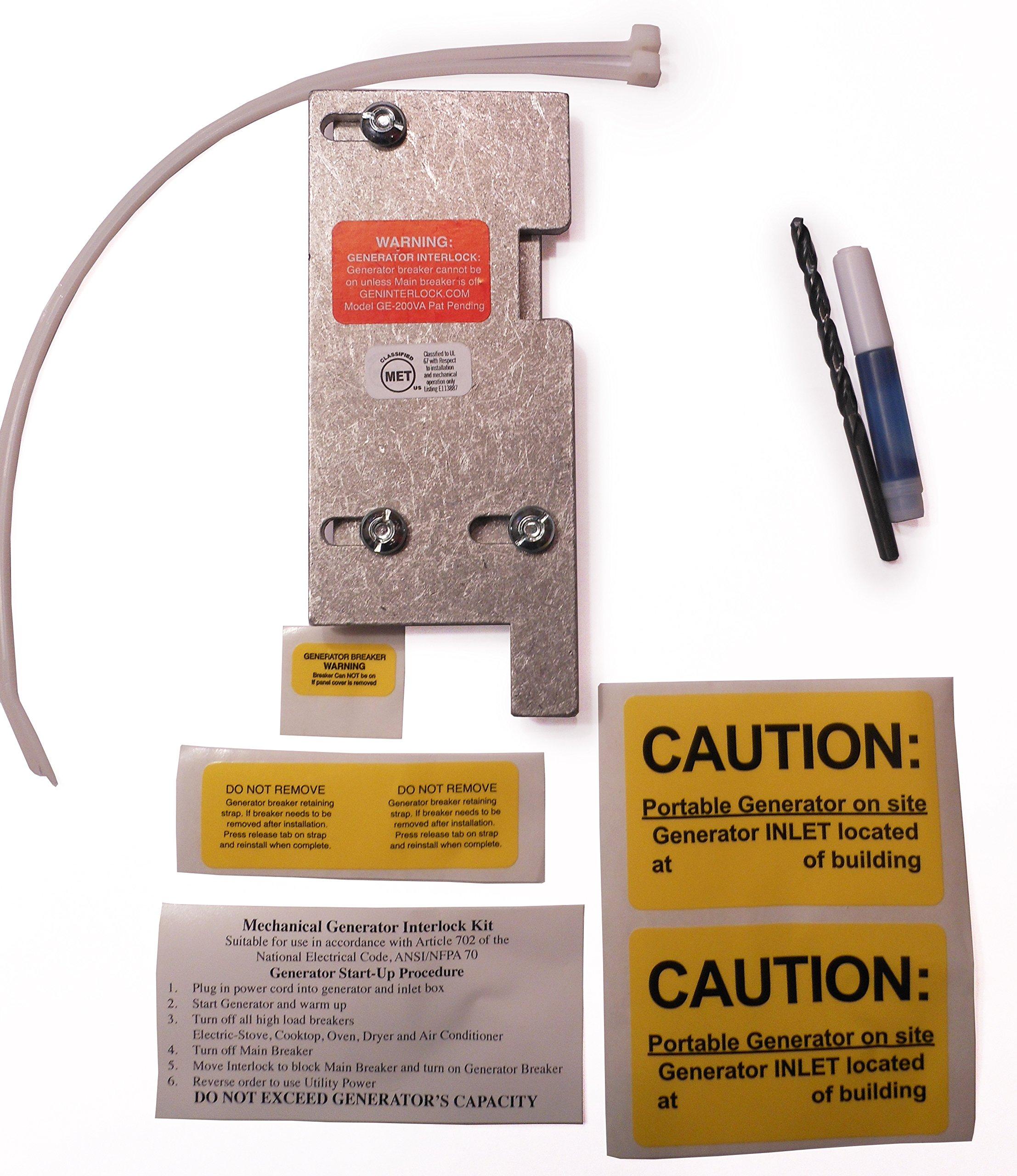 GE-200VA GE General Electric Generator Interlock Kit for Vertical Main 150 or 200 amp breaker