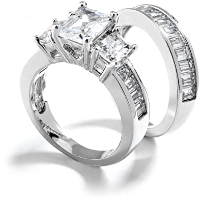 grade aaaaa three stone emerald cut cubic zirconia engagement ring total 3 carat rhodium - Cubic Zirconia Wedding Rings