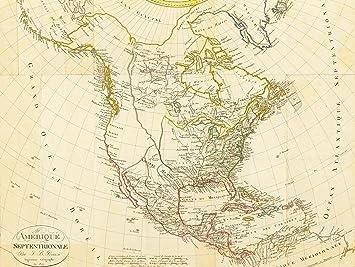 MAP ANTIQUE 1809 CONTINENT NORTH AMERICA CANADA USA PACIFIC ATLANTIC ...