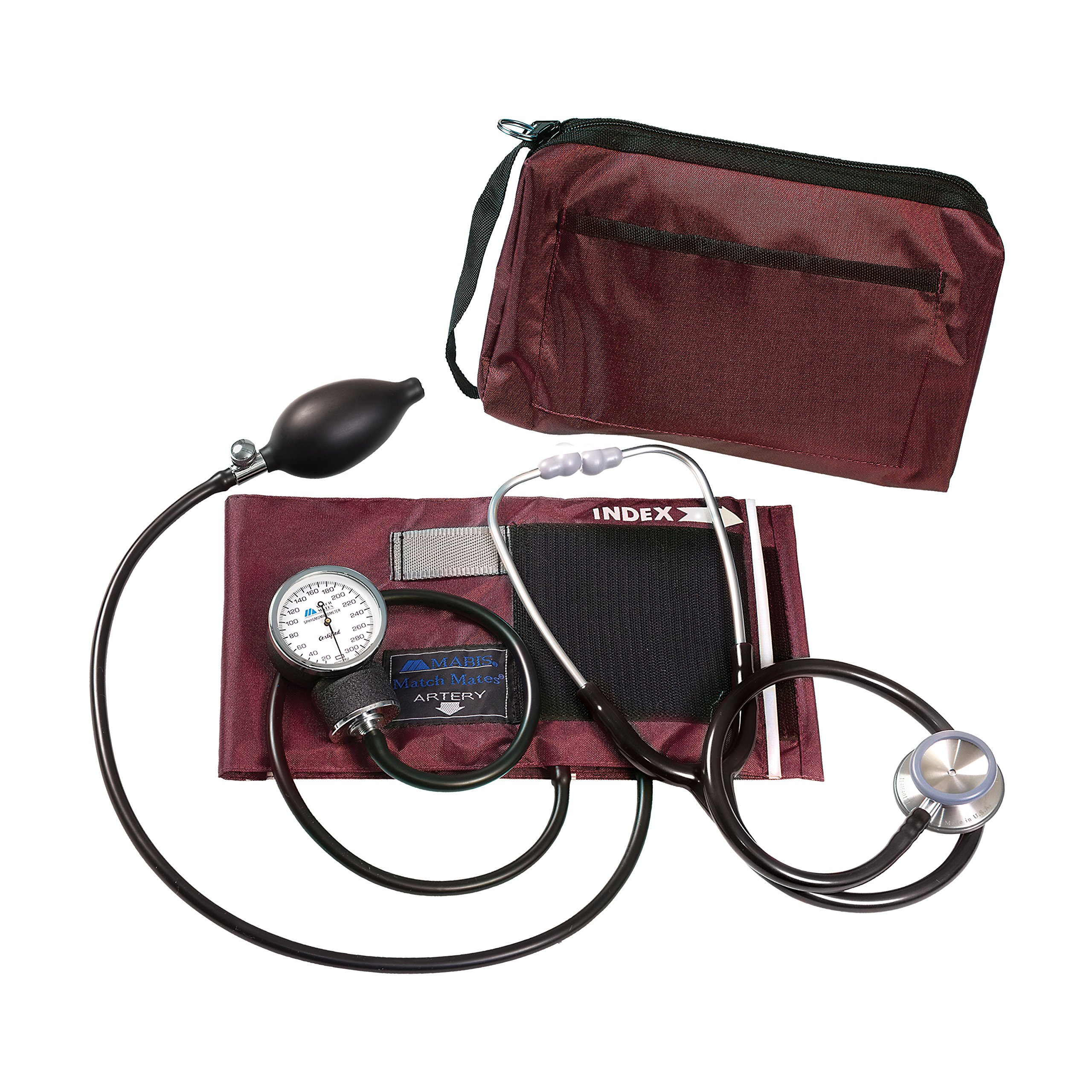 MatchMates Combination Kit with a 3M Littmann Classic II S.E. Stethoscope and a MABIS Aneroid Sphygmomanometer, Burgundy and Black