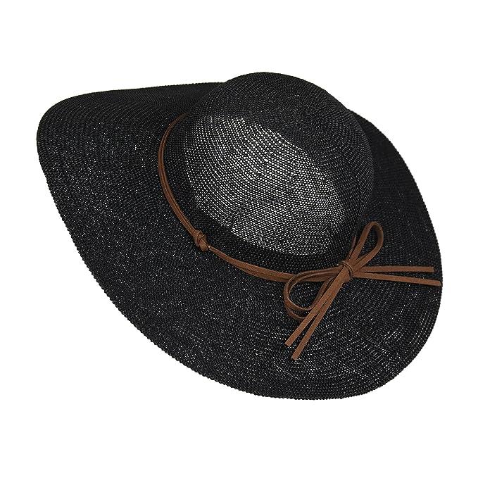510596df2 MWS Lightweight Hat for Women with Tie Hatband, Floppy Straw Crochet Hat  with Brim