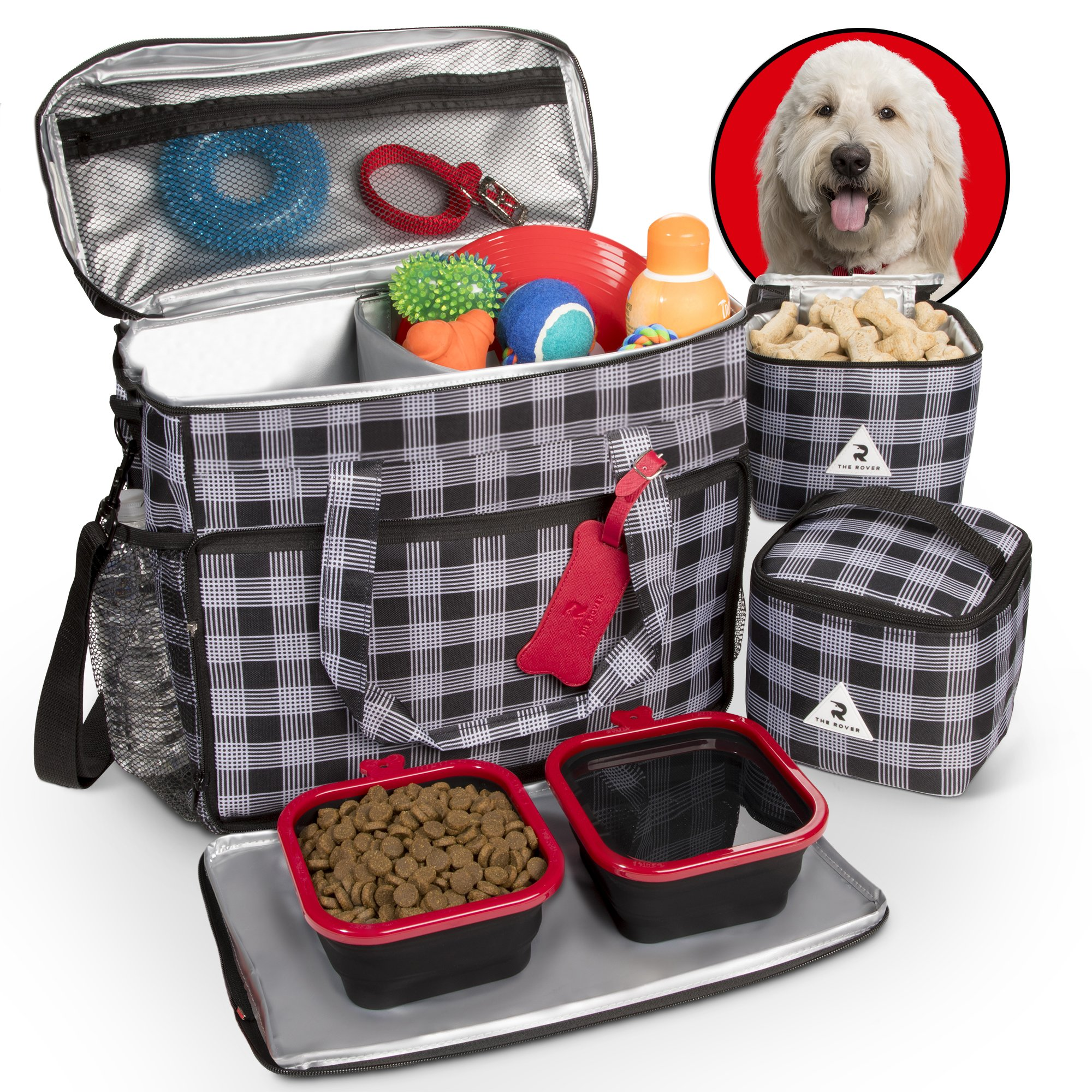 Premium Dog Travel Set - Includes Large Tote Bag, Secret Spare Leash, 2 Lined Food Cases, Zip-Off Placemat, and 2 Collapsible Silicone Bowls I The Rover