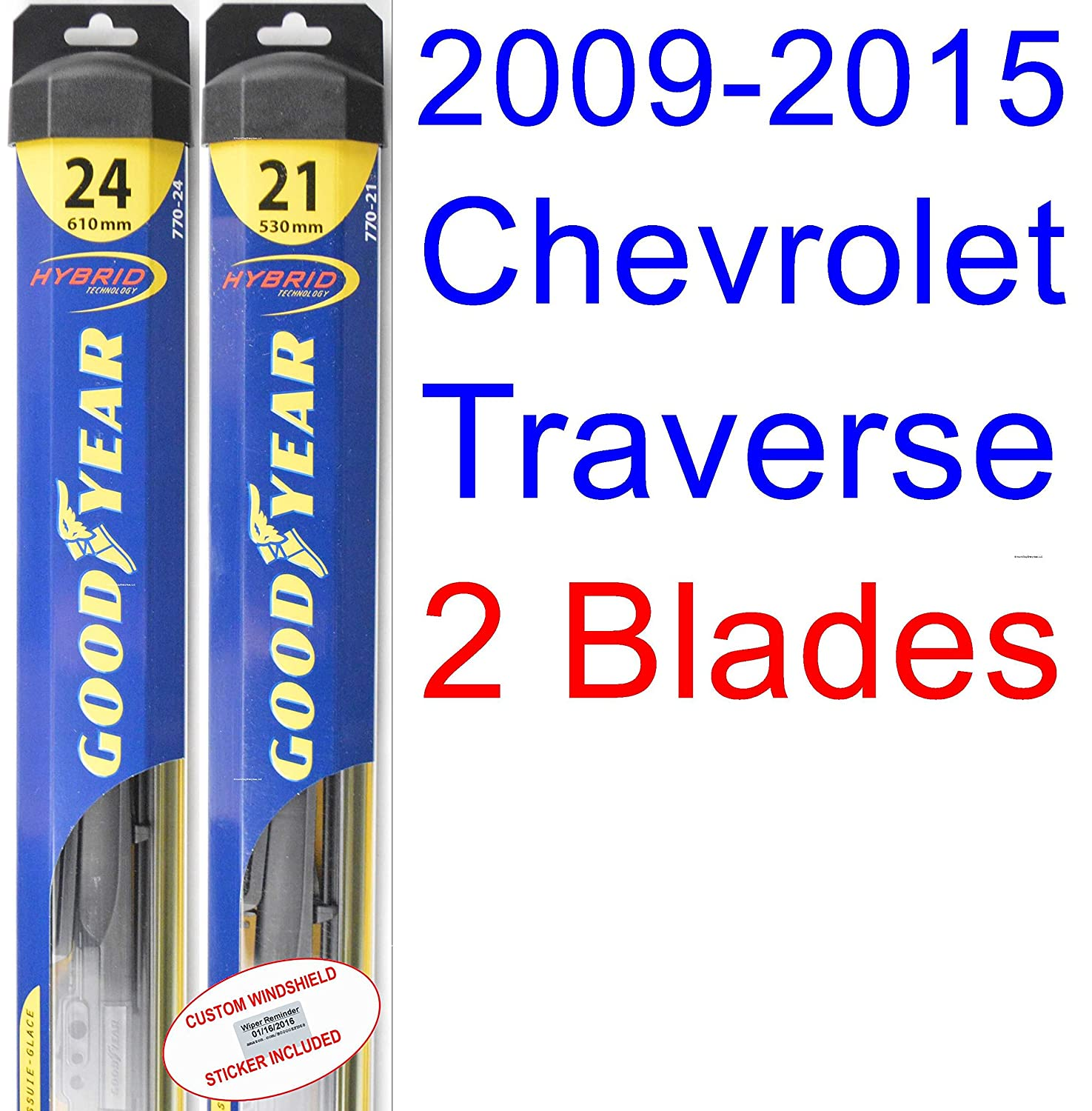 2009 2015 Chevrolet Traverse Replacement Wiper Blade Set Chevy Oil Filter Location Kit Of 2 Blades Goodyear Hybrid 20102011201220132014