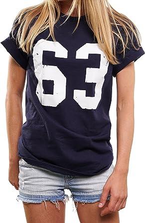 Bulldozer Trikot Oversize Top de Manga Corta - Numero 63 - Football Americano Camiseta para Mujer: Amazon.es: Ropa y accesorios