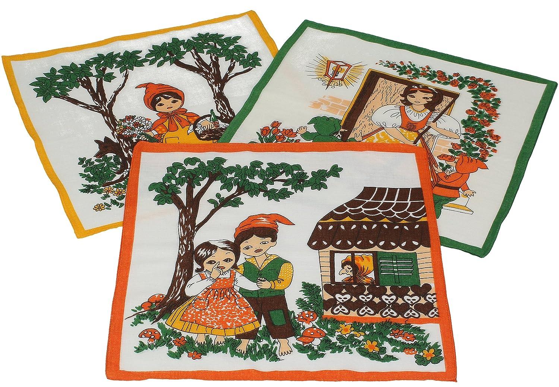 Betz. Set di 12 fazzoletti per bambini al motivo fiabesco, misure 26 x 26 cm, 100 % cotone, design 4