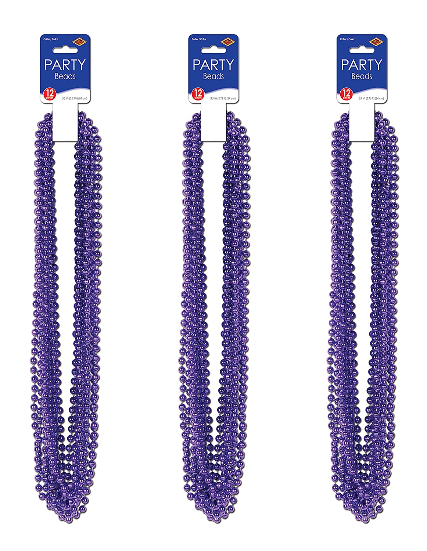 Beistle S50570PLAZ3 Purple 33 36 Piece Party Beads