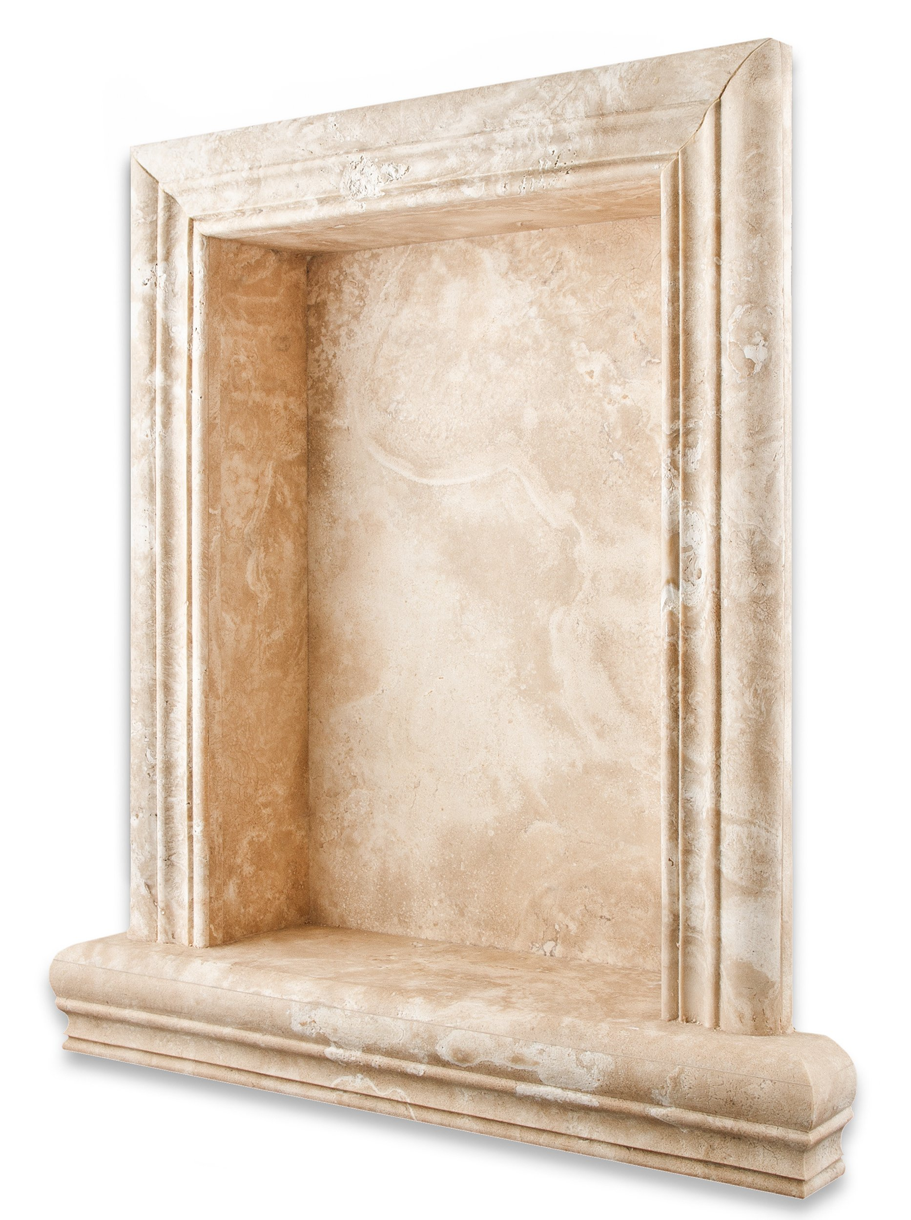 Durango Cream Travertine Honed Hand-Made Custom Shampoo Niche - LARGE