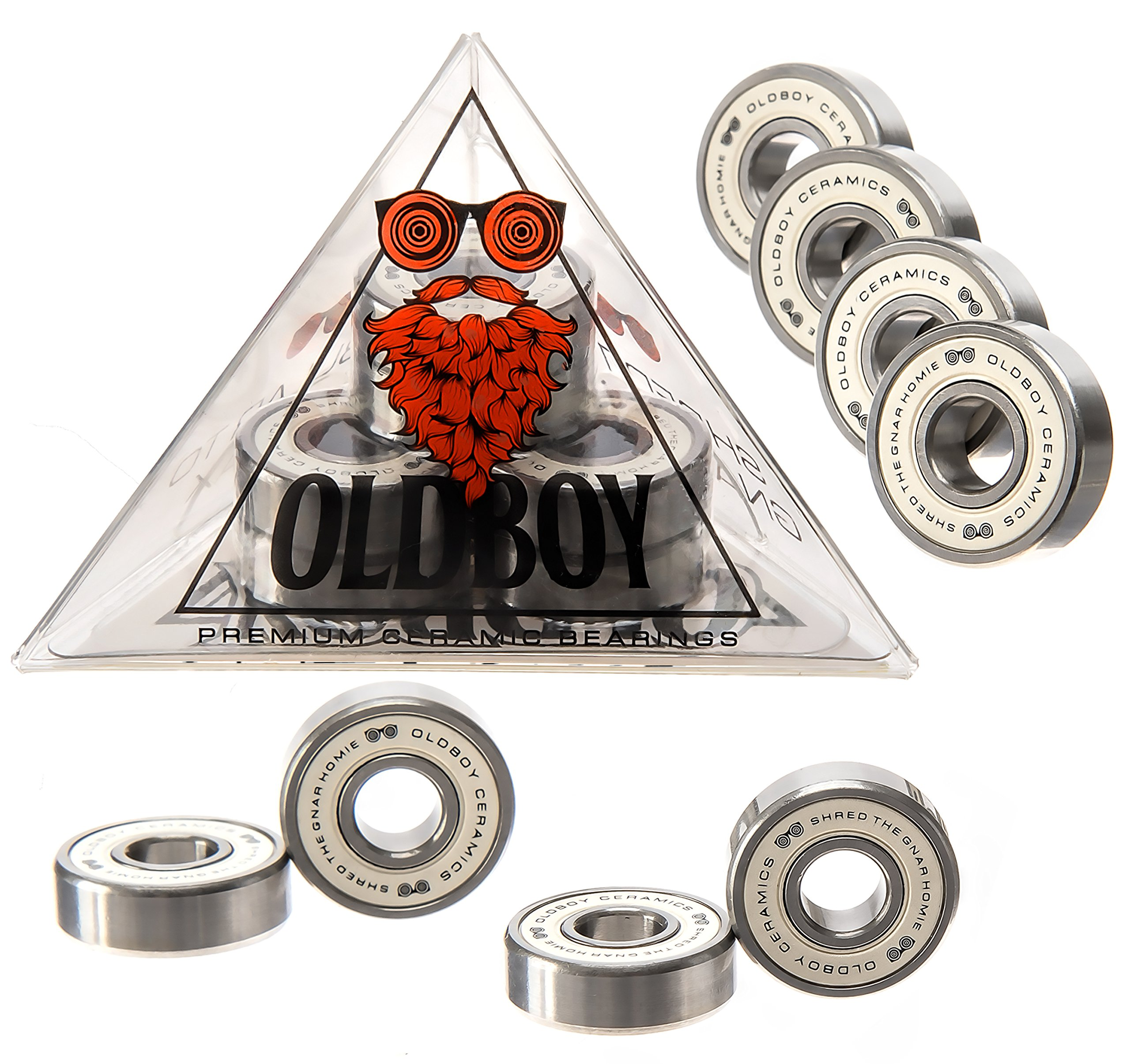 Oldboy Premium Ceramic Bearings with indestructible balls for a faster, smoother ride on your longboard or skateboard by Oldboy Bearings