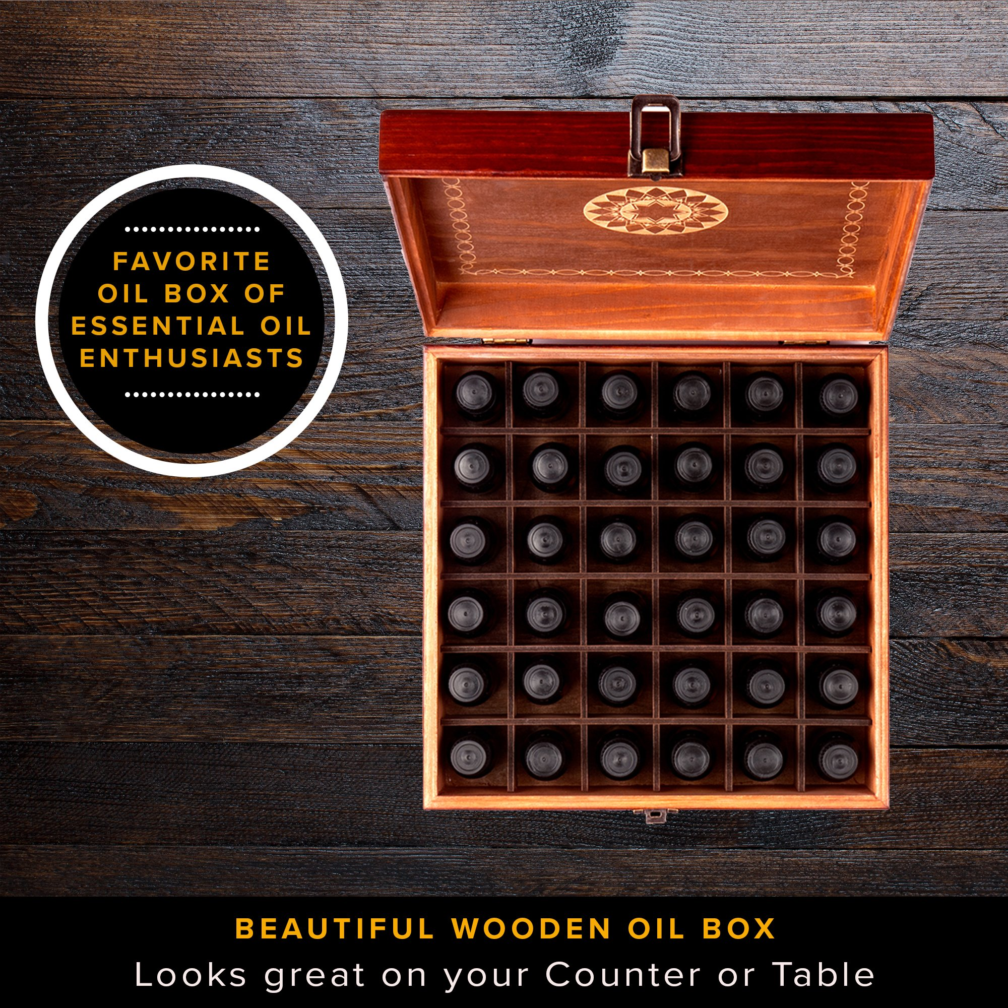 Beautiful Essential Oil Storage Box Organizer - Holds 36 Bottles 5-10-15-30ML & 1oz Or 72 Roller Bottles - Free Roller Bottle Opener & 192 EO Labels - Wooden Oil Case Holder by MP (Image #2)