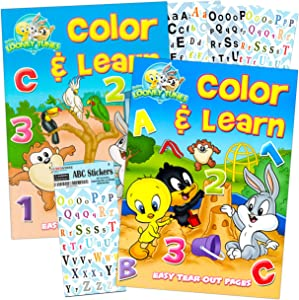 LOONEY TUNES Preschool Workbooks for Toddlers Kids Set, 2-4 Years ~ 2 Pack Coloring Book Workbooks for Preschoolers with Bonus ABC Stickers (Alphabet, Counting, Colors, Shapes and More)