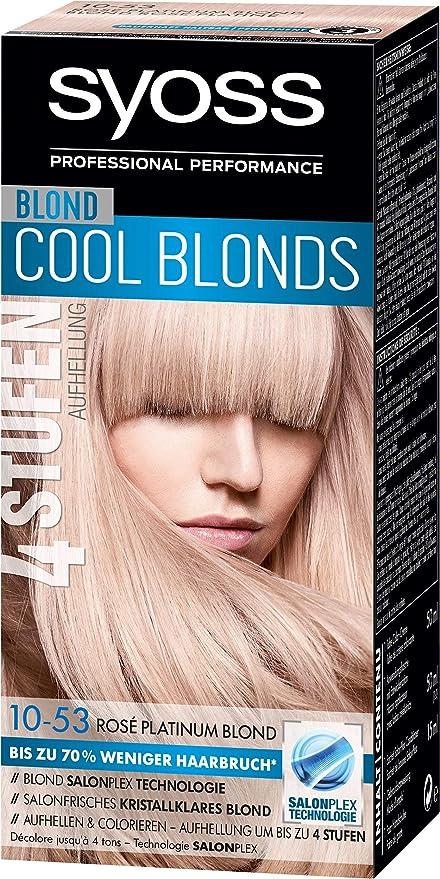 Tinte Syoss Blond Cool para el pelo, 10-53 Rose Platinum nivel 3, 3 unidades (3 x 115 ml)