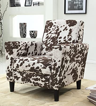Awe Inspiring Us Pride Furniture Contemporary Cow And Flower Pattern Fabric Accent Chair Brown White Gmtry Best Dining Table And Chair Ideas Images Gmtryco