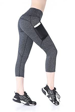 b8870a9aedcabf EAST HONG Women's Yoga Leggings Exercise Gym Tights Workout Pants (S, Gray)