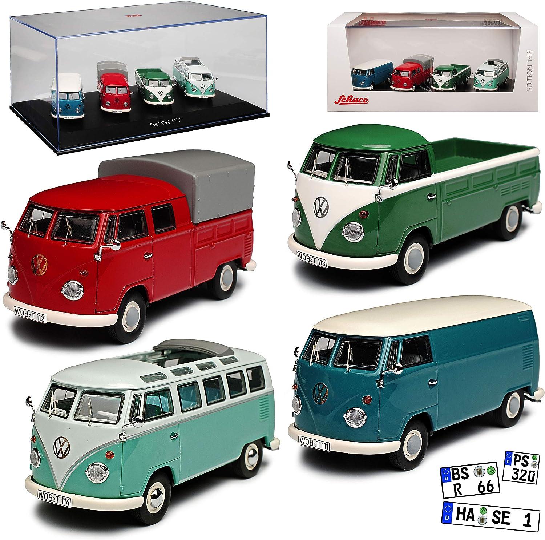 VW Volkswagen T1 Kasten Blau mit Weiss Samba Bully Bus 1950-1967 mit Sockel un..