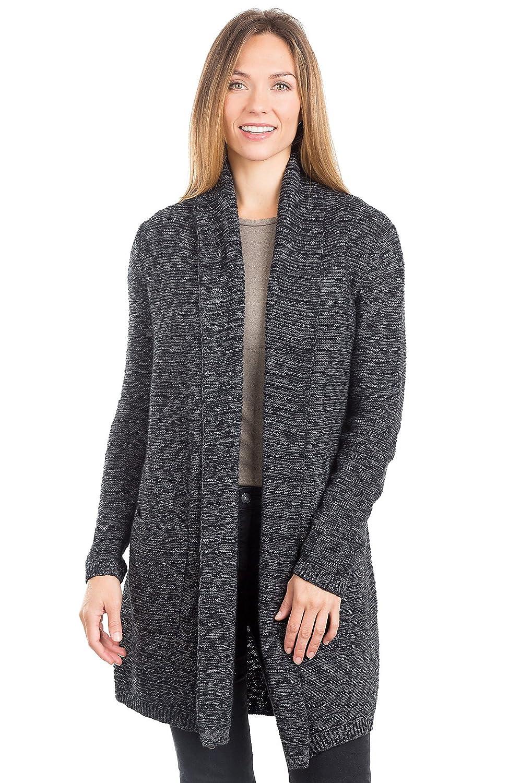 Modern Melange Organic Cotton Open Cardigan Sweater