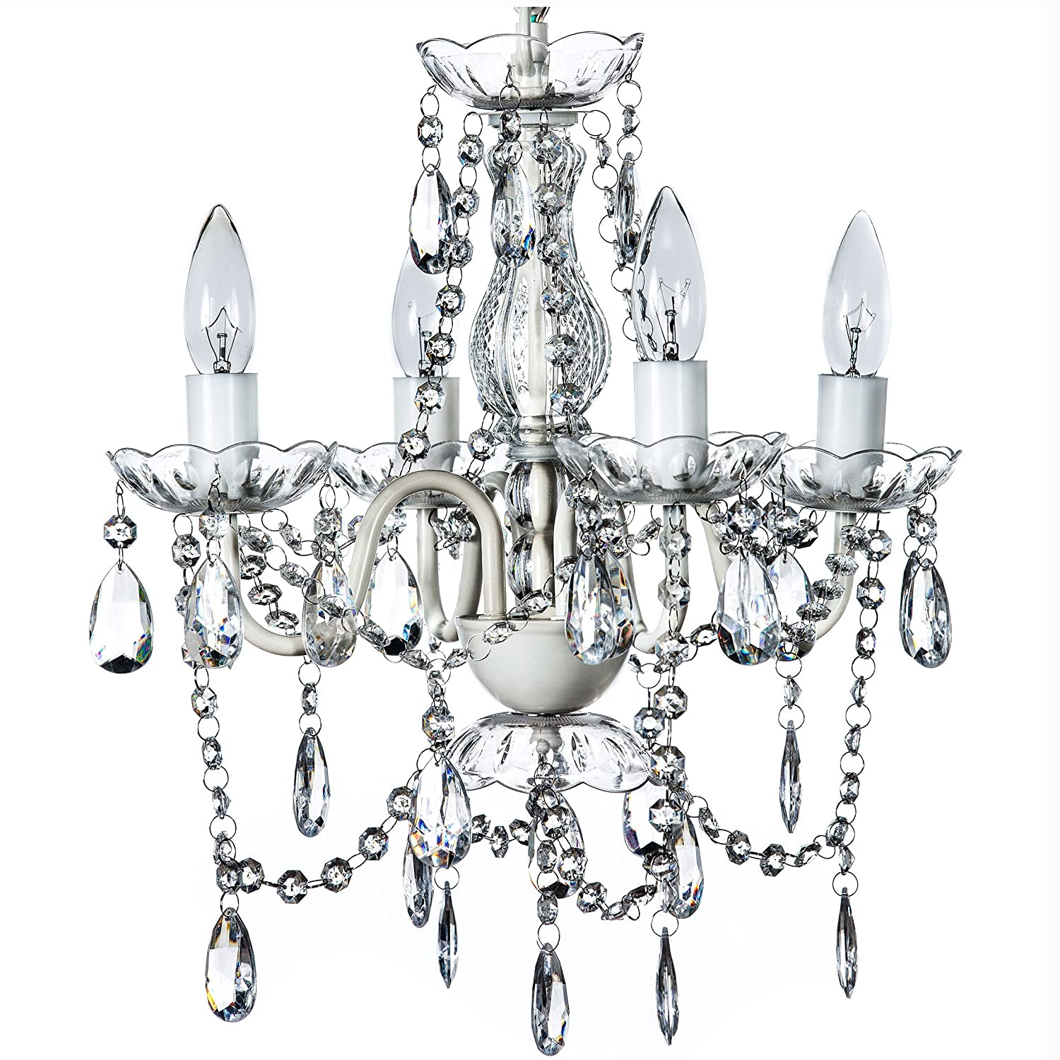Gypsy Color 4 Arm CRYSTAL WHITE Small Acrylic CRYSTAL CHANDELIER New Chic Lighting Ceiling Fixture Entryway Bathroom Bedroom Closet Chandeliers, Crystal White