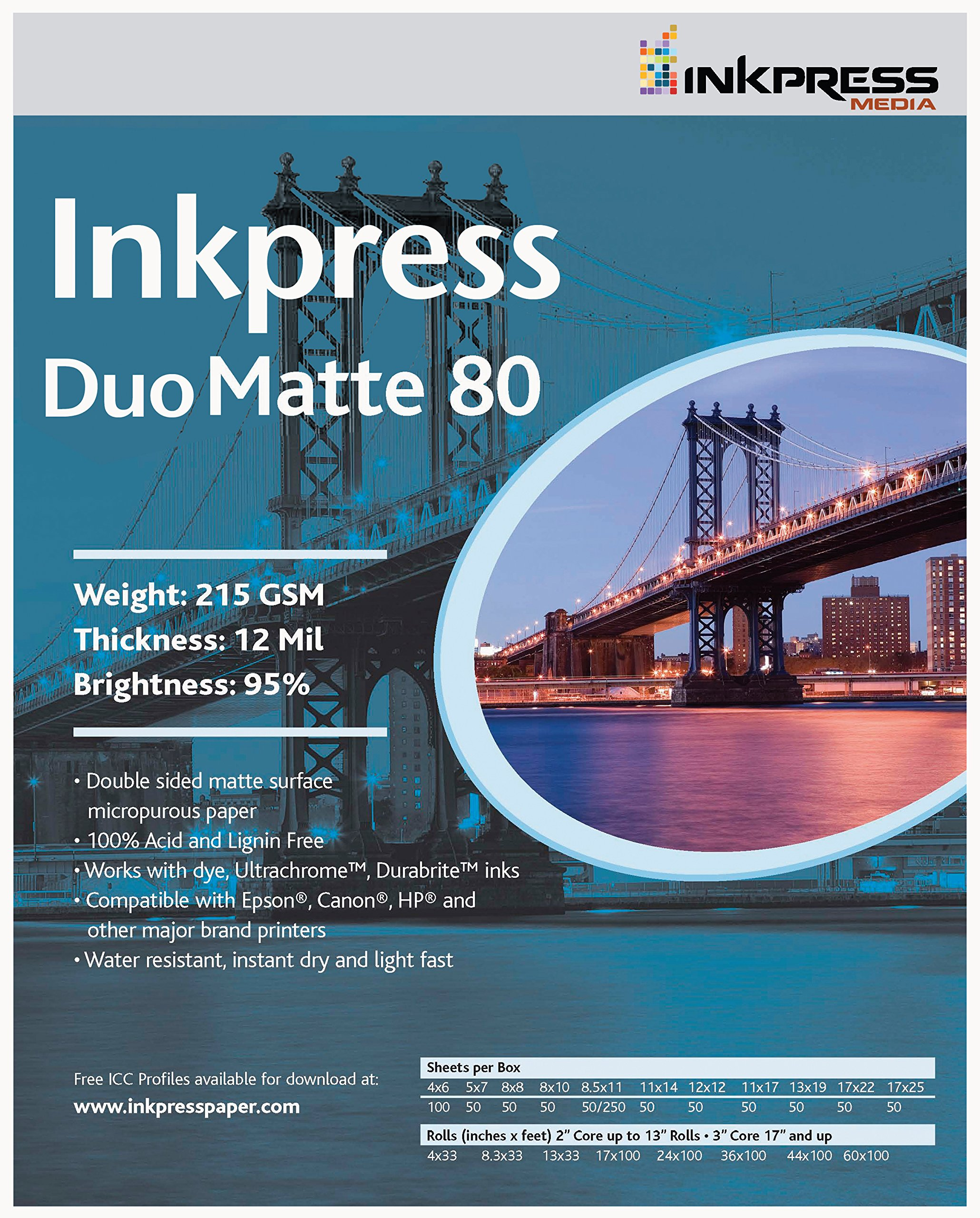 INKPRESS MEDIA 215 GSM,12 Mil,5x7'', 95 Percent Bright, Double Sided Photo Paper (#PP805750)