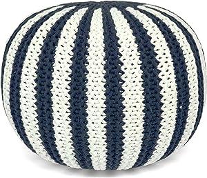Urban Shop Knit Pouf, Navy and White
