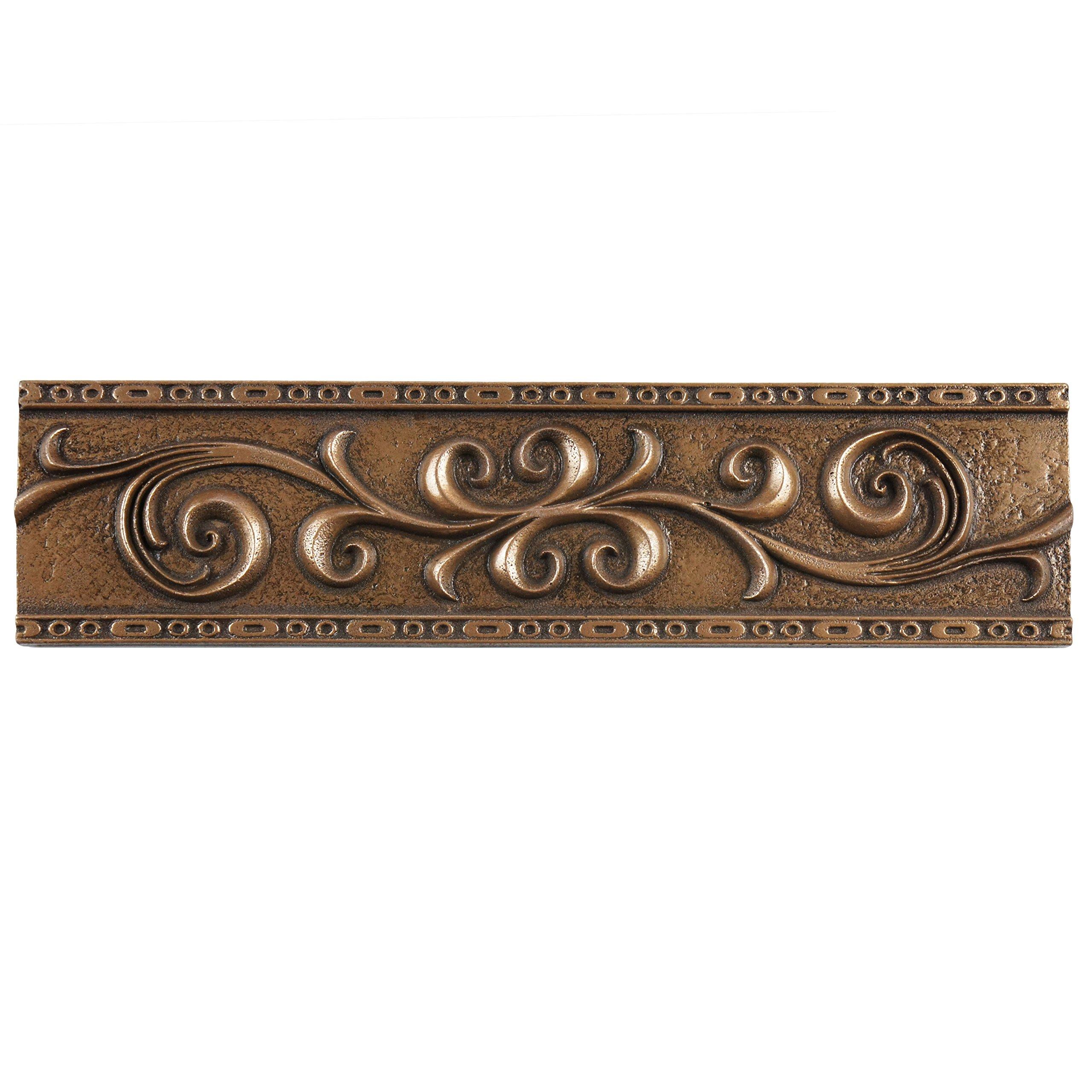 SomerTile WGMSBRRL Denbora Scroll Metallic Liner Wall Trim Tile, 3'' x 12'', Bronze by SOMERTILE