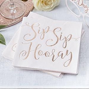 Ginger Ray Pink & Rose Gold Foiled Sip Hooray Paper Weddign Napkins 16 Pack, Beautiful Botanics