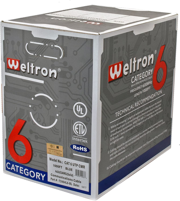 Weltron T2404L6-GN 1000 Green Cat6 600Mhz Solid Utp Cmr Copper