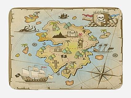 Amazon.com: Lunarable Island Map Bath Mat, Cartoon Treasure Island on