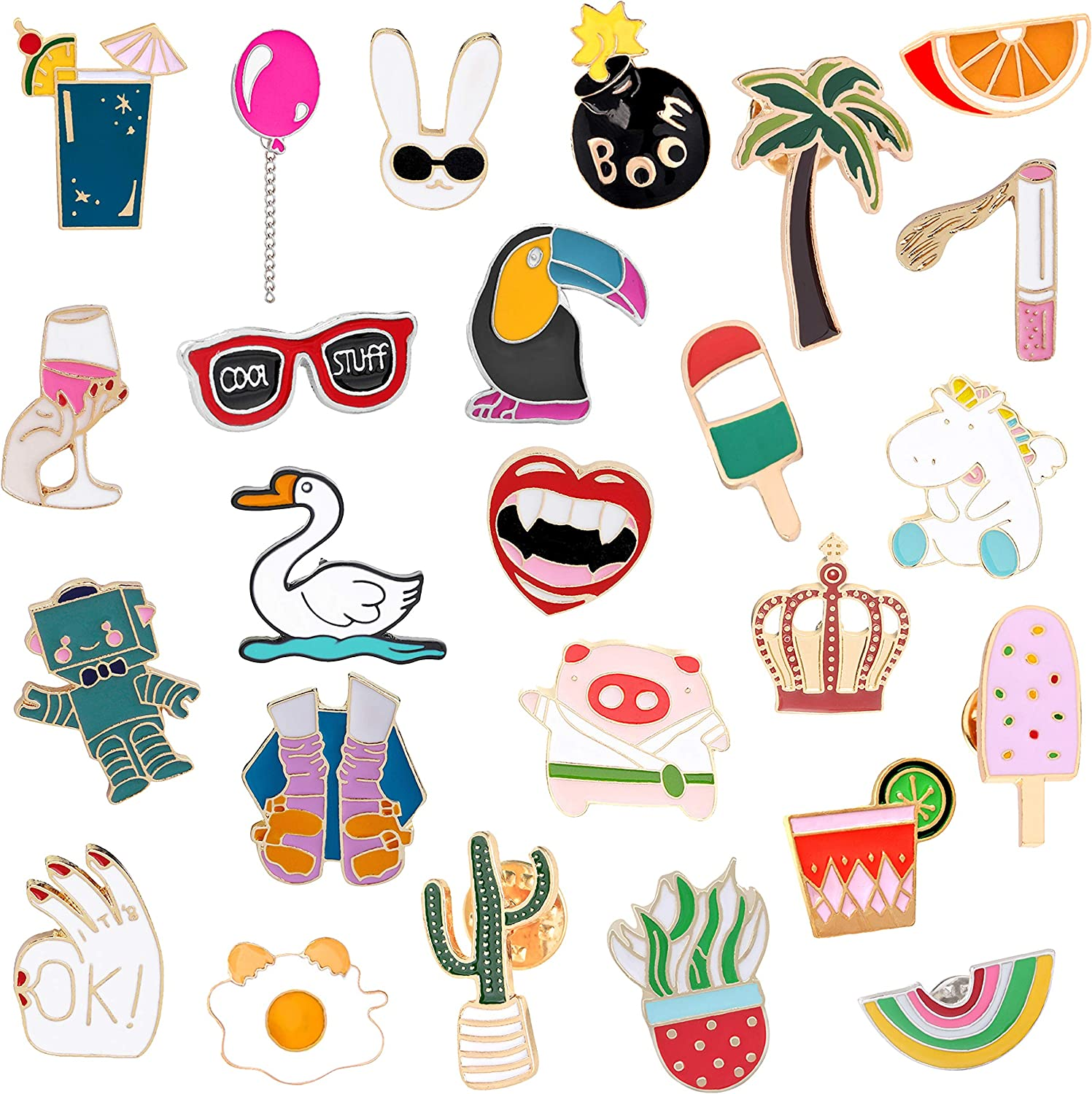 ZTWEDEN 25 Pieces Cute Enamel Lapel Pin Cartoon Brooch Pin Badges Brooch Pins Set for Clothing Jackets Backpacks DIY Crafts Accessories Supplies