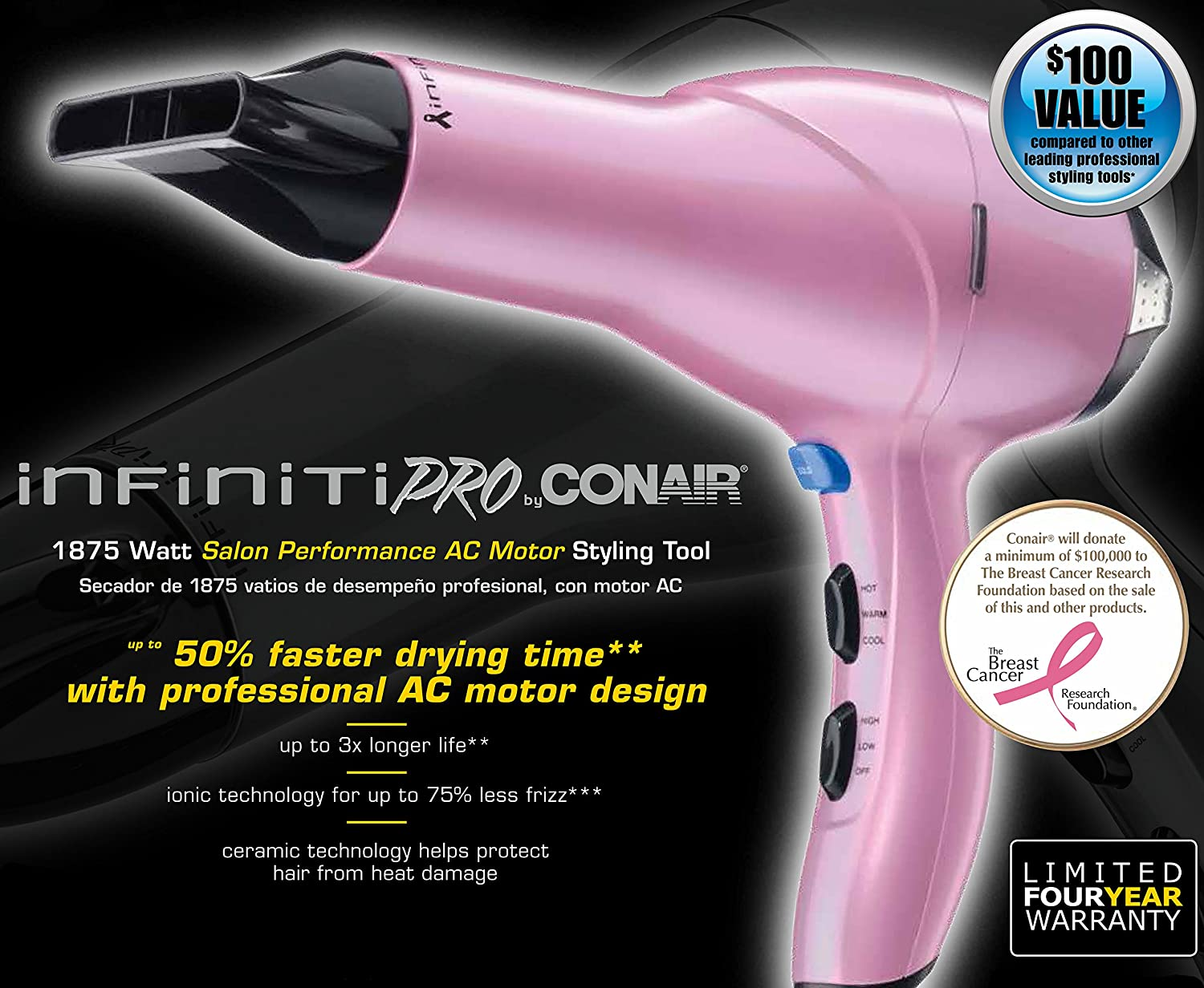 Amazon.com: Infiniti Pro by Conair Salon Performance AC Motor Styling Tool, Pink: Beauty