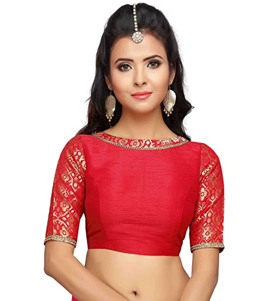 b475dd69972b76 Studio Shringaar Women's Brocade and Silk Stitched Saree Blouse with Boat  Neck and Elbow Length Sleeves