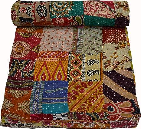 Cotton Multi Patchwork Kantha Quilt Handmade Indian Vintage Bedding Bedspread Bohemian Blanket Kantha Coverlet Home Decor
