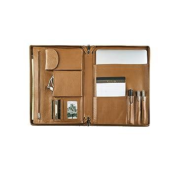 Profesional Oficina de Negocios Cartera portadocumentos de piel grano litchi cartera caso: Amazon.es: Oficina y papelería