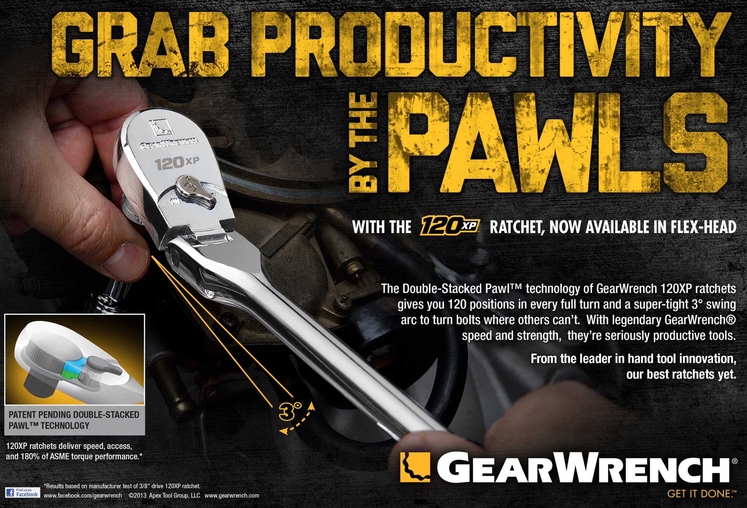GearWrench 81012P 120XP Full Polish Flex Teardrop Ratchet, 1/4-Inch by Apex Tool Group (Image #7)