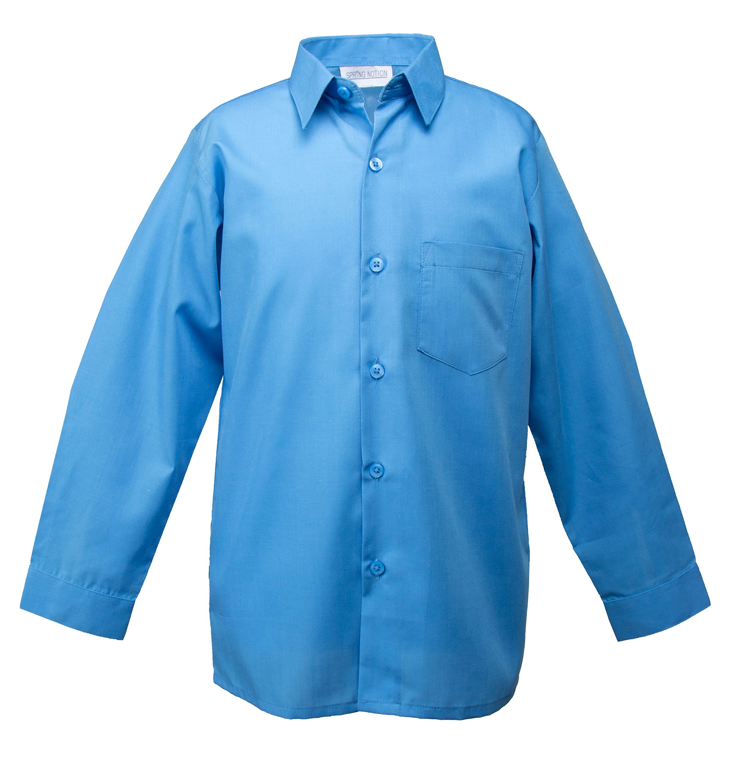 Spring Notion Big Boys' Long Sleeve Dress Shirt 12 Sky Blue