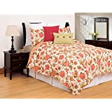 C&F Home Alyssa Beautiful Floral Botanical Spring Easter Machine Washable Full/Queen 3 Piece Reversible Quilt Sham Coverlet S