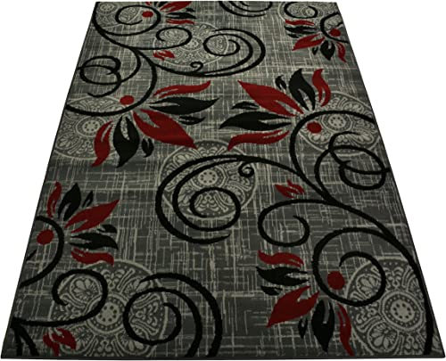 Normian Collection Flowers Floral Design Area Rug Rugs Area Rug 6 Color Options Grey Red, 4 9 x 6 10