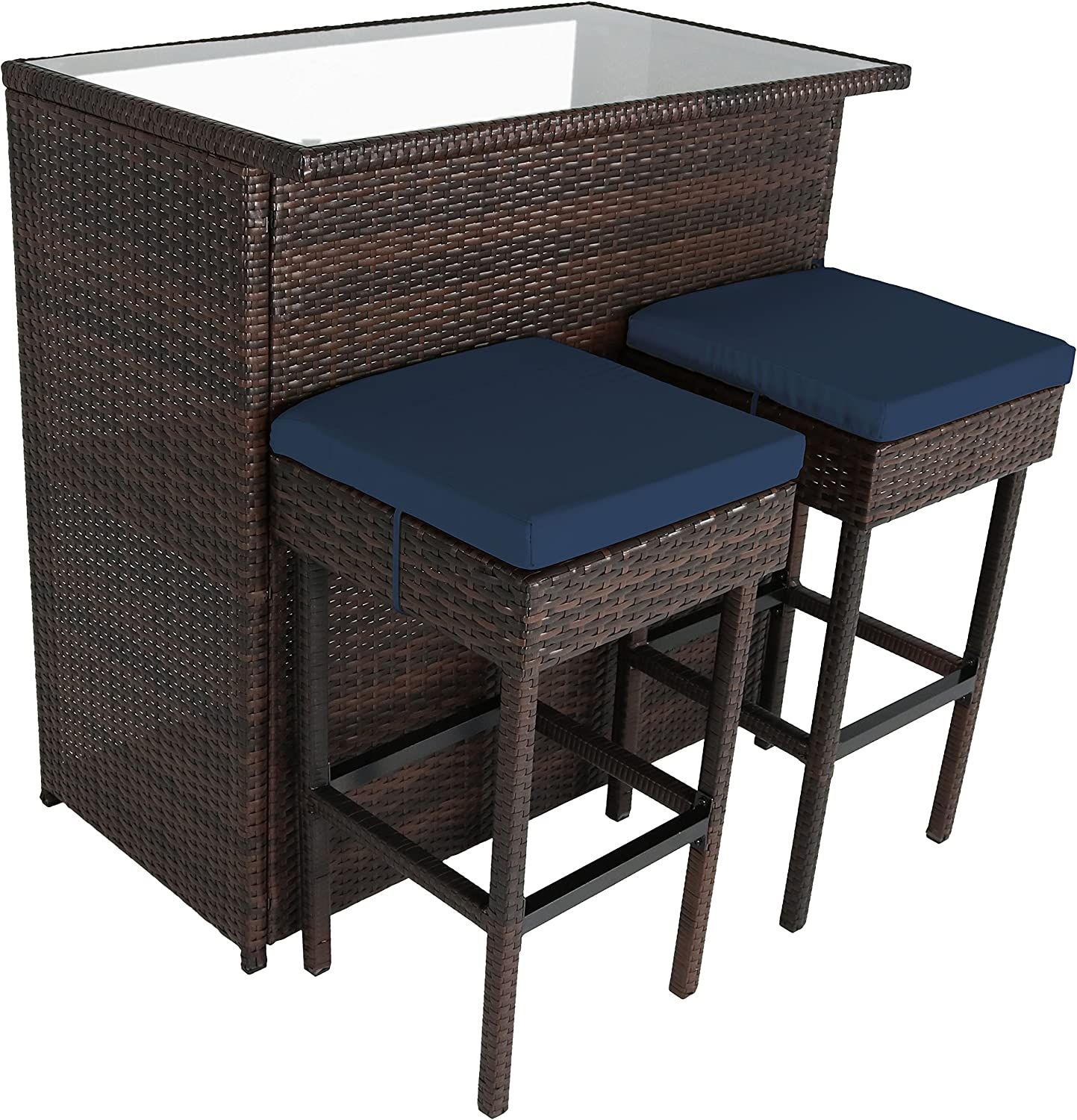 Sunnydaze Melindi 3-Piece Outdoor Patio Bar Furniture Set, Wicker Rattan – Includes Bar Table, 2 Stools, and Blue Cushions