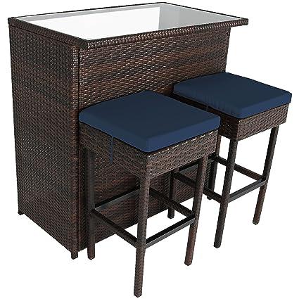Sunnydaze Melindi 3 Piece Outdoor Patio Bar Furniture Set, Wicker Rattan    Includes Bar