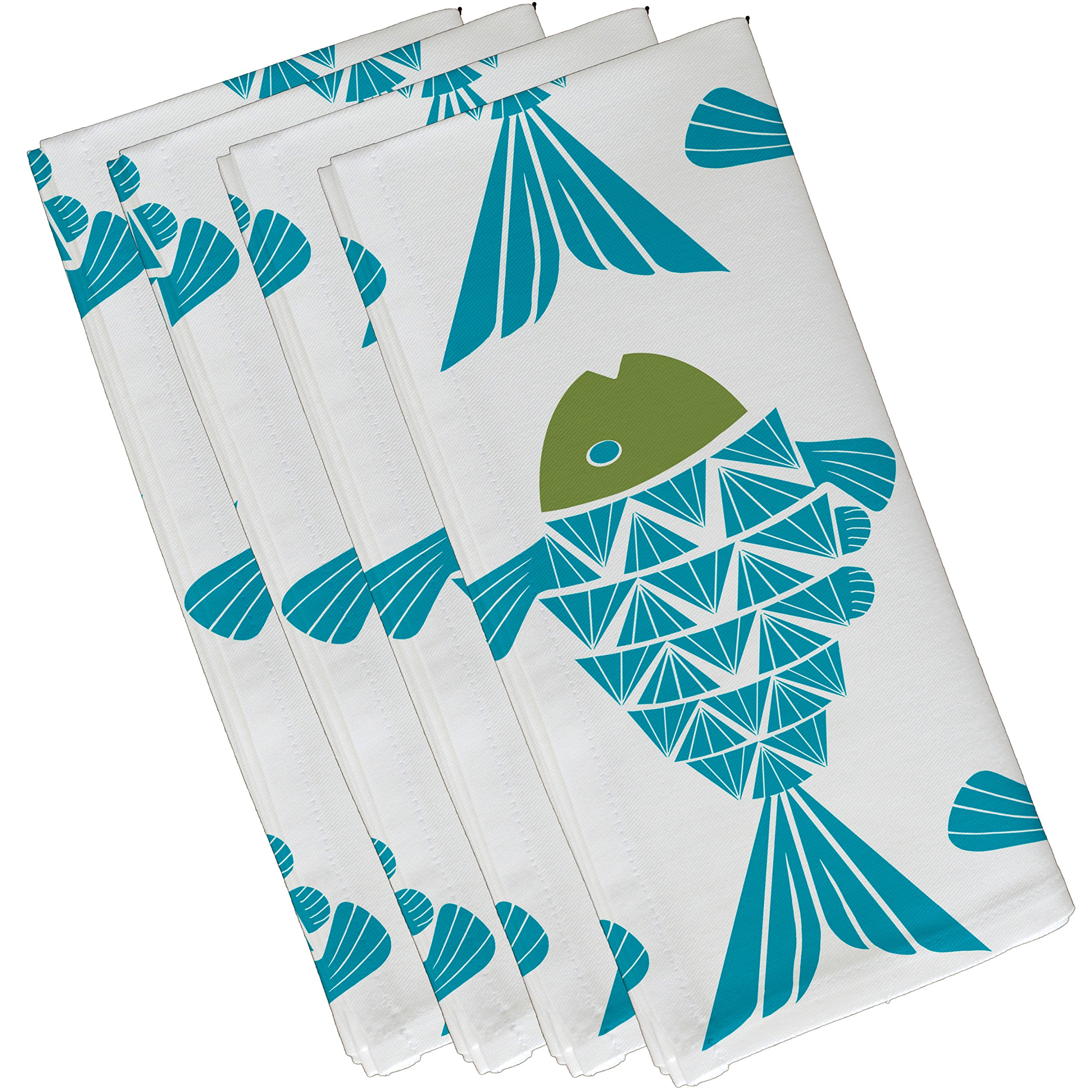 E by design Big Fish, Animal Print Napkin, 19 x 19'', Turquoise