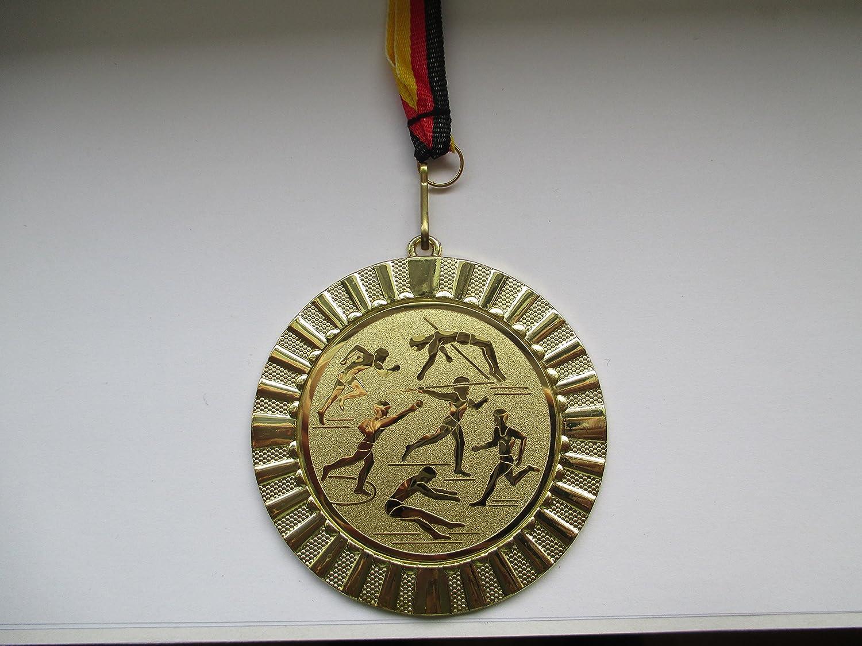 Gold Lauf Fanshop L/ünen Medaillen Gold mit Alu Emblem 50mm Emblem Laufen Medaille Gro/ß 70mm Metall Leichtathletik