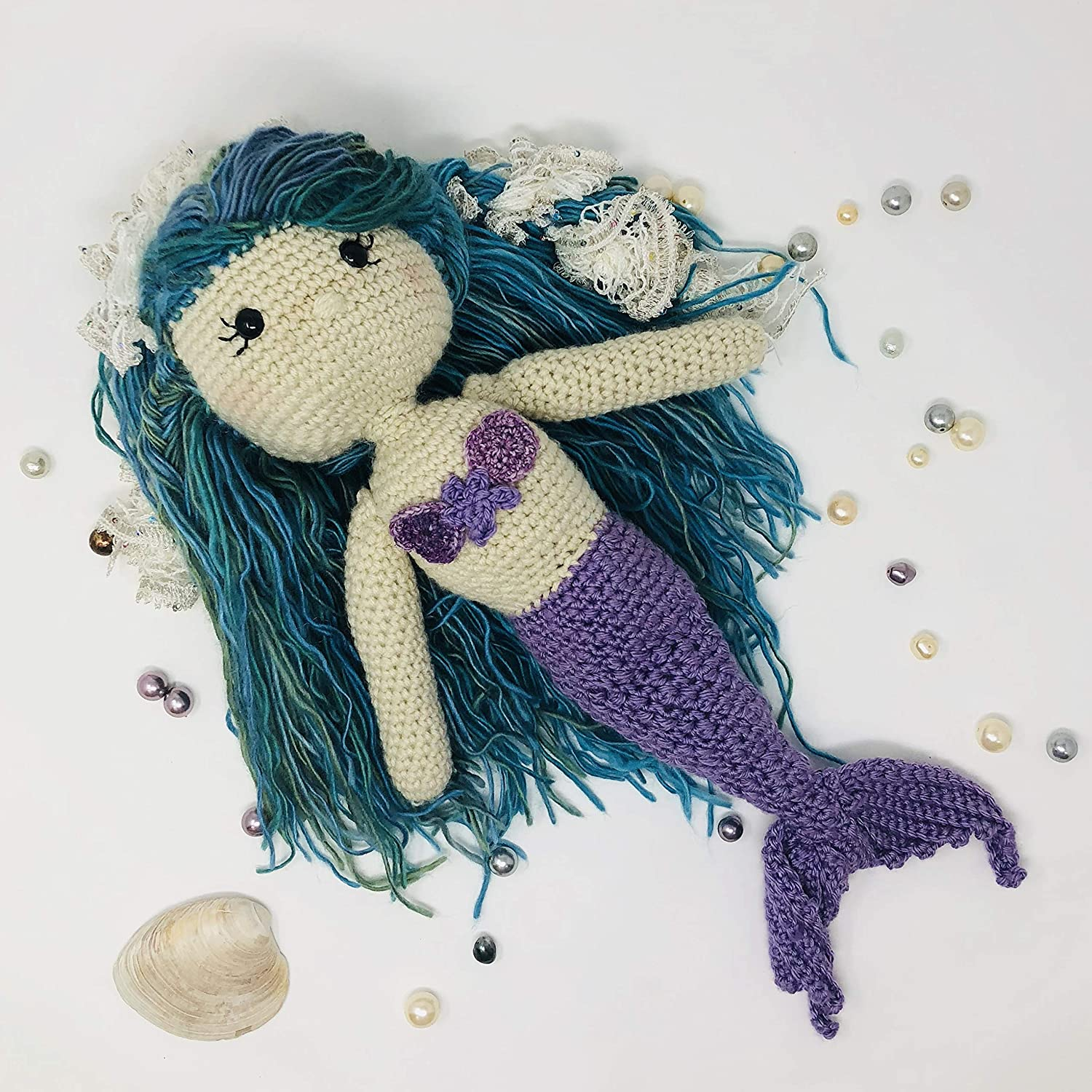 Amazon com: Willow the Mermaid - Large Crocheted Doll, Soft