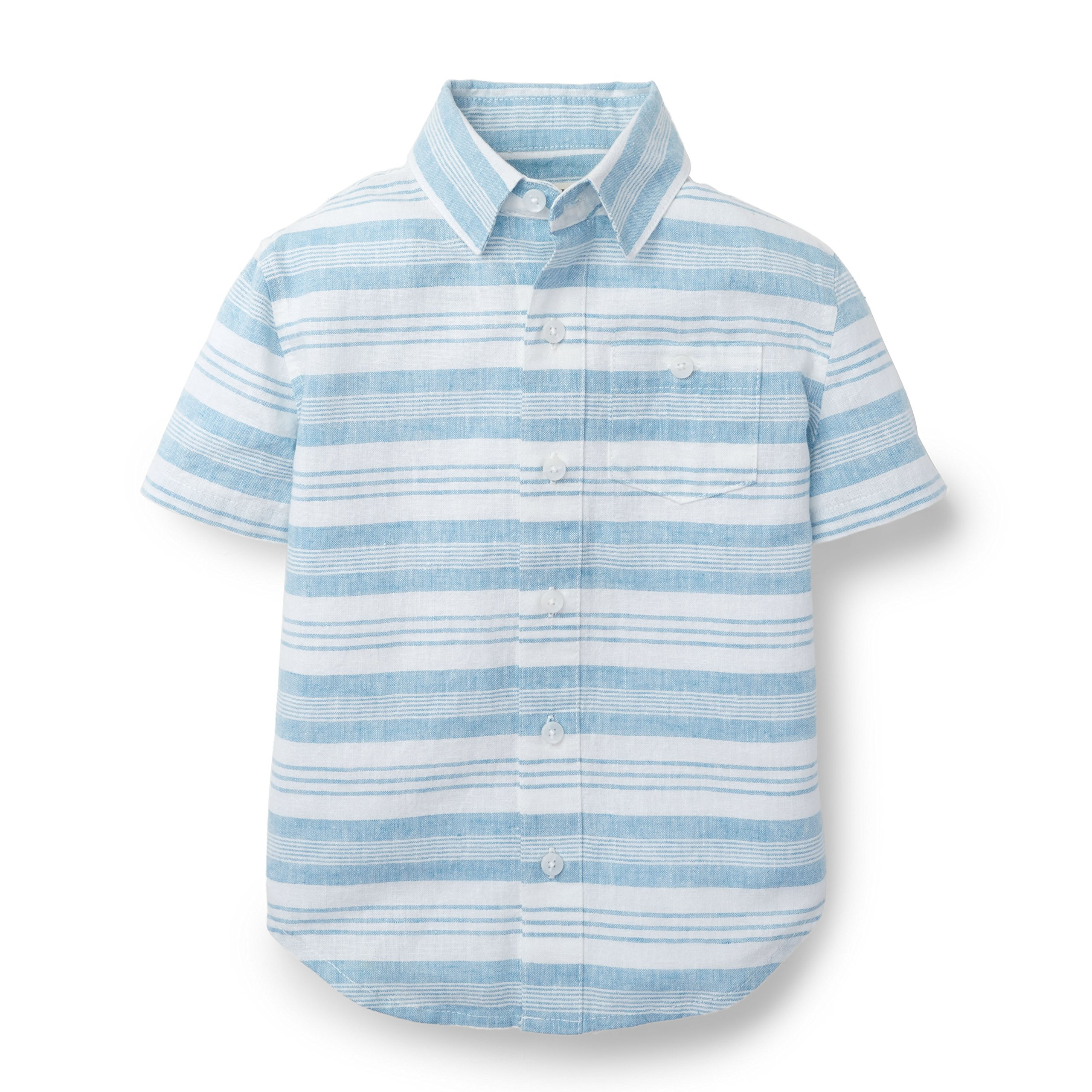 Hope & Henry Boys Linen Striped Short Sleeve Shirt Made with Organic Cotton