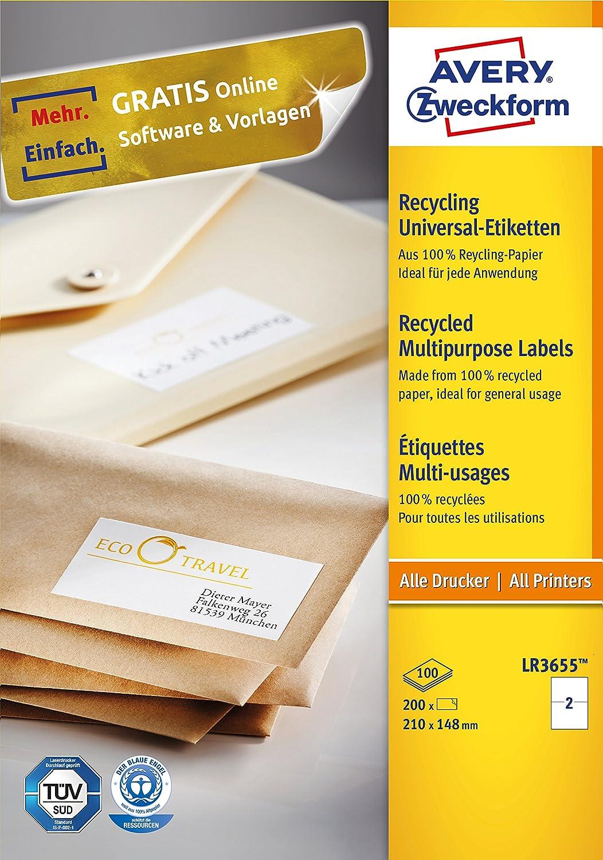 Avery Zweckform LR3655 Universal-Etiketten (A4,200 Etiketten ...