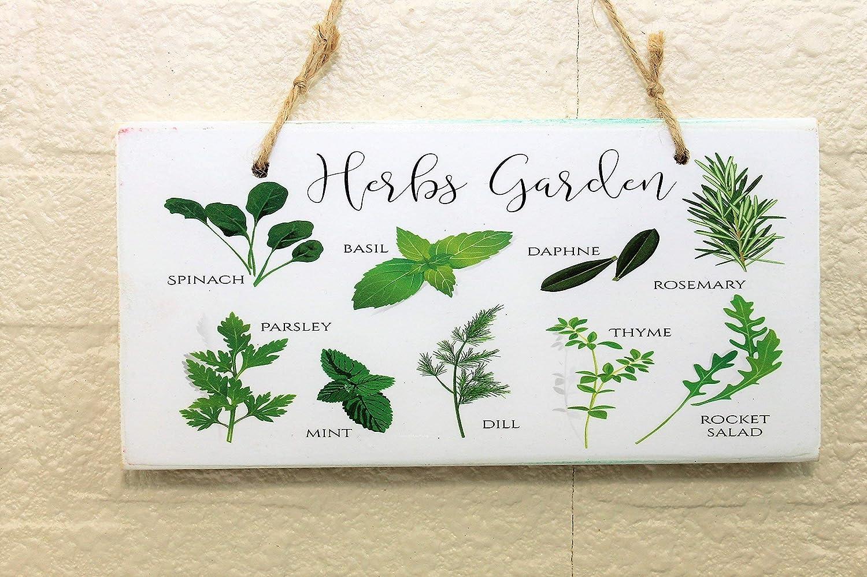 Herb Garden Farmhouse Kitchen Printed Handmade Wood Sign
