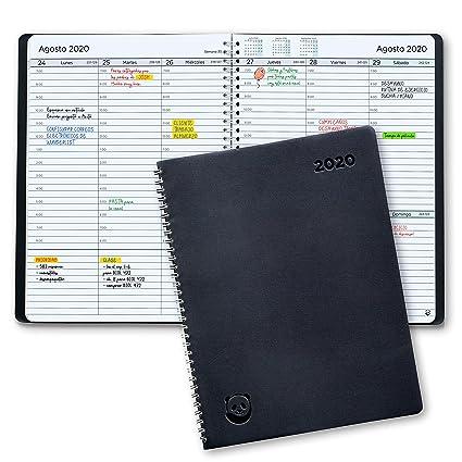 Agenda 2020 con Vista Semanal – Planificador 2020 Semana Vista – Diario Espiral que Inspira Productividad - Tapa Blanda, Intervalos de 30 minutos - ...