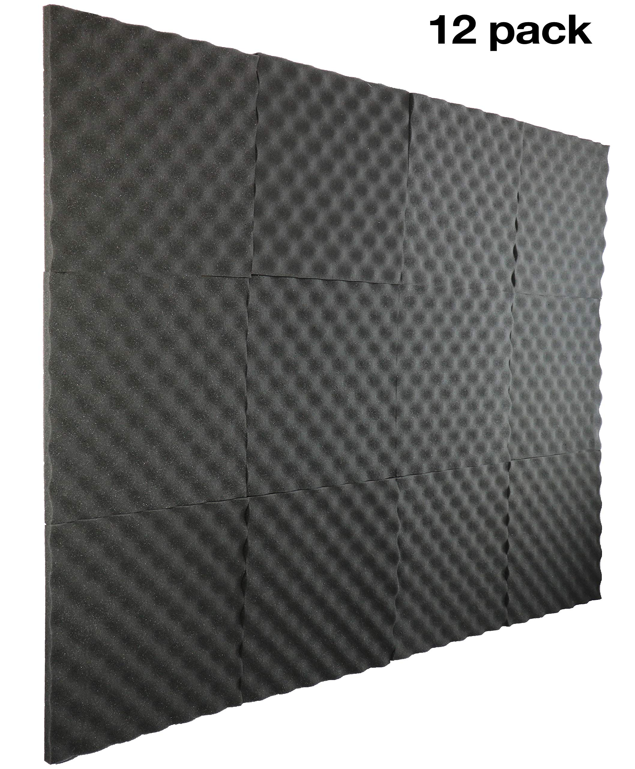 12 Pack- Acoustic Panels Studio Foam Egg Crate 1'' X 12'' X 12'' by NEW LEVEL