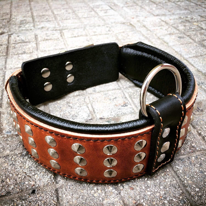 bestia Collar de Perro Star. 100% Cuero. Hecho a Mano en Europa SR3MBL2